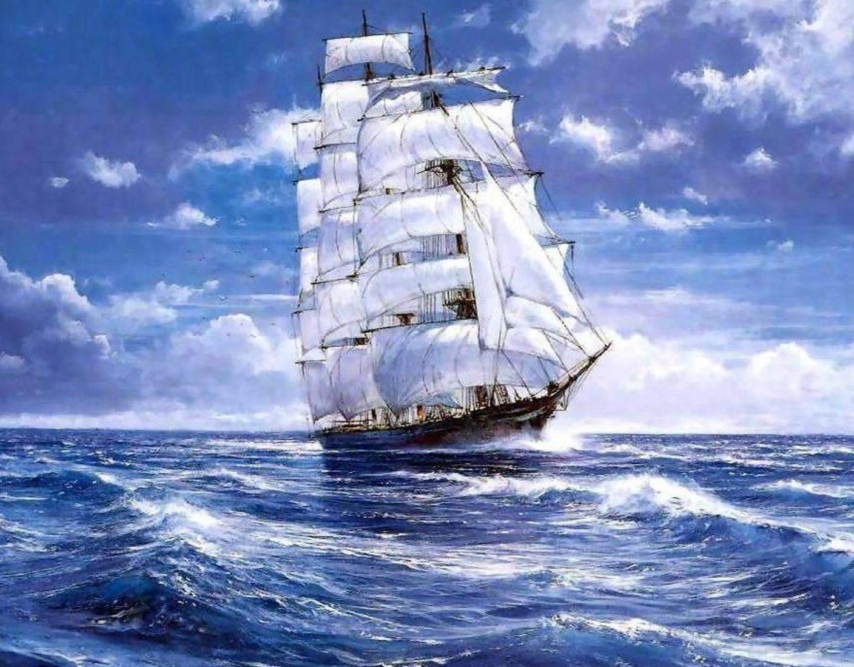 """Парусник, море, парусник, корабль, природа.  Предпросмотр схемы вышивки  """"Парусник """"."""